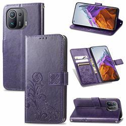 Embossing Imprint Four-Leaf Clover Leather Wallet Case for Xiaomi Mi 11 Pro - Purple