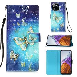 Gold Butterfly 3D Painted Leather Wallet Case for Xiaomi Mi 11 Pro