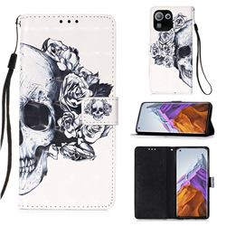 Skull Flower 3D Painted Leather Wallet Case for Xiaomi Mi 11 Pro