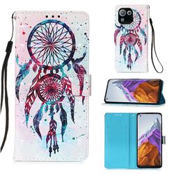ColorDrops Wind Chimes 3D Painted Leather Wallet Case for Xiaomi Mi 11 Pro