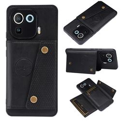 Retro Multifunction Card Slots Stand Leather Coated Phone Back Cover for Xiaomi Mi 11 Pro - Black