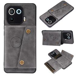 Retro Multifunction Card Slots Stand Leather Coated Phone Back Cover for Xiaomi Mi 11 Pro - Gray