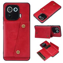 Retro Multifunction Card Slots Stand Leather Coated Phone Back Cover for Xiaomi Mi 11 Pro - Red
