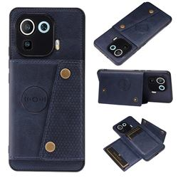 Retro Multifunction Card Slots Stand Leather Coated Phone Back Cover for Xiaomi Mi 11 Pro - Blue