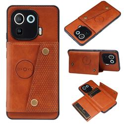 Retro Multifunction Card Slots Stand Leather Coated Phone Back Cover for Xiaomi Mi 11 Pro - Brown