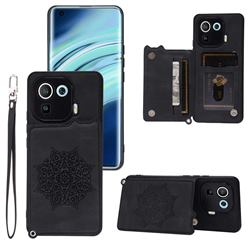 Luxury Mandala Multi-function Magnetic Card Slots Stand Leather Back Cover for Xiaomi Mi 11 Pro - Black