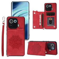 Luxury Mandala Multi-function Magnetic Card Slots Stand Leather Back Cover for Xiaomi Mi 11 Pro - Red
