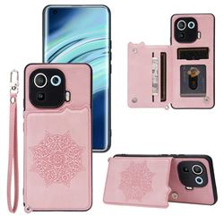 Luxury Mandala Multi-function Magnetic Card Slots Stand Leather Back Cover for Xiaomi Mi 11 Pro - Rose Gold