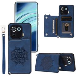Luxury Mandala Multi-function Magnetic Card Slots Stand Leather Back Cover for Xiaomi Mi 11 Pro - Blue