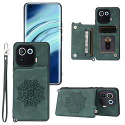 Luxury Mandala Multi-function Magnetic Card Slots Stand Leather Back Cover for Xiaomi Mi 11 Pro - Green