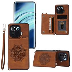 Luxury Mandala Multi-function Magnetic Card Slots Stand Leather Back Cover for Xiaomi Mi 11 Pro - Brown