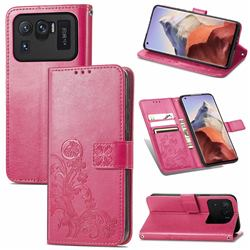 Embossing Imprint Four-Leaf Clover Leather Wallet Case for Xiaomi Mi 11 Ultra - Rose Red