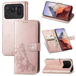Embossing Imprint Four-Leaf Clover Leather Wallet Case for Xiaomi Mi 11 Ultra - Rose Gold