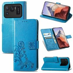 Embossing Imprint Four-Leaf Clover Leather Wallet Case for Xiaomi Mi 11 Ultra - Blue