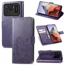 Embossing Imprint Four-Leaf Clover Leather Wallet Case for Xiaomi Mi 11 Ultra - Purple