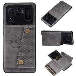 Retro Multifunction Card Slots Stand Leather Coated Phone Back Cover for Xiaomi Mi 11 Ultra - Gray