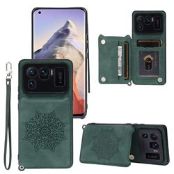Luxury Mandala Multi-function Magnetic Card Slots Stand Leather Back Cover for Xiaomi Mi 11 Ultra - Green