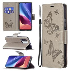 Embossing Double Butterfly Leather Wallet Case for Xiaomi Mi 11i / Poco F3 - Gray