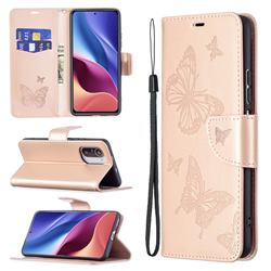 Embossing Double Butterfly Leather Wallet Case for Xiaomi Mi 11i / Poco F3 - Rose Gold