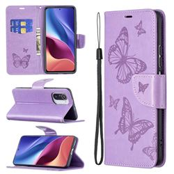Embossing Double Butterfly Leather Wallet Case for Xiaomi Mi 11i / Poco F3 - Purple