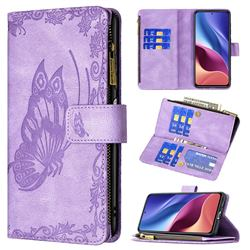 Binfen Color Imprint Vivid Butterfly Buckle Zipper Multi-function Leather Phone Wallet for Xiaomi Mi 11i / Poco F3 - Purple