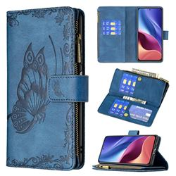 Binfen Color Imprint Vivid Butterfly Buckle Zipper Multi-function Leather Phone Wallet for Xiaomi Mi 11i / Poco F3 - Blue