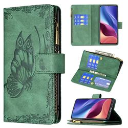 Binfen Color Imprint Vivid Butterfly Buckle Zipper Multi-function Leather Phone Wallet for Xiaomi Mi 11i / Poco F3 - Green