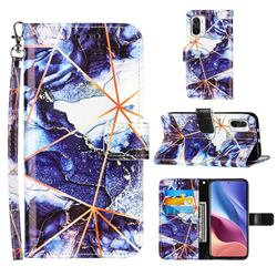 Starry Blue Stitching Color Marble Leather Wallet Case for Xiaomi Mi 11i / Poco F3