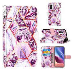 Dream Purple Stitching Color Marble Leather Wallet Case for Xiaomi Mi 11i / Poco F3