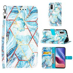 Lake Blue Stitching Color Marble Leather Wallet Case for Xiaomi Mi 11i / Poco F3