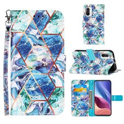 Green and Blue Stitching Color Marble Leather Wallet Case for Xiaomi Mi 11i / Poco F3