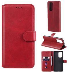 Retro Calf Matte Leather Wallet Phone Case for Xiaomi Mi 11i / Poco F3 - Red