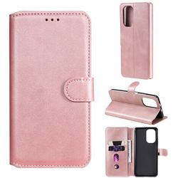 Retro Calf Matte Leather Wallet Phone Case for Xiaomi Mi 11i / Poco F3 - Pink