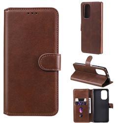 Retro Calf Matte Leather Wallet Phone Case for Xiaomi Mi 11i / Poco F3 - Brown