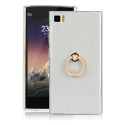 Luxury Soft TPU Glitter Back Ring Cover with 360 Rotate Finger Holder Buckle for Xiaomi Mi 3 Miui3 Mi3 - White