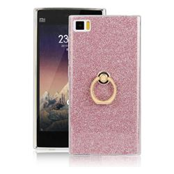 Luxury Soft TPU Glitter Back Ring Cover with 360 Rotate Finger Holder Buckle for Xiaomi Mi 3 Miui3 Mi3 - Pink