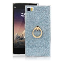 Luxury Soft TPU Glitter Back Ring Cover with 360 Rotate Finger Holder Buckle for Xiaomi Mi 3 Miui3 Mi3 - Blue