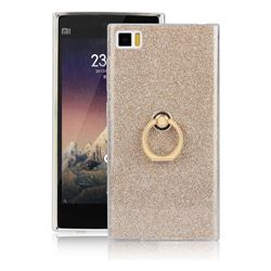 Luxury Soft TPU Glitter Back Ring Cover with 360 Rotate Finger Holder Buckle for Xiaomi Mi 3 Miui3 Mi3 - Golden