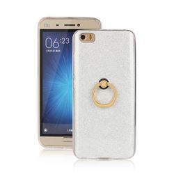 Luxury Soft TPU Glitter Back Ring Cover with 360 Rotate Finger Holder Buckle for Xiaomi Mi 5 Mi5 - White