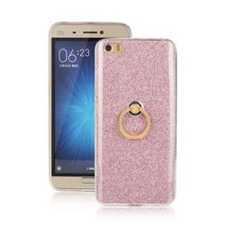 Luxury Soft TPU Glitter Back Ring Cover with 360 Rotate Finger Holder Buckle for Xiaomi Mi 5 Mi5 - Pink