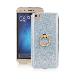 Luxury Soft TPU Glitter Back Ring Cover with 360 Rotate Finger Holder Buckle for Xiaomi Mi 5 Mi5 - Blue
