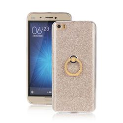 Luxury Soft TPU Glitter Back Ring Cover with 360 Rotate Finger Holder Buckle for Xiaomi Mi 5 Mi5 - Golden
