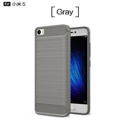 Luxury Carbon Fiber Brushed Wire Drawing Silicone TPU Back Cover for Xiaomi Mi 5 Mi5 - Gray