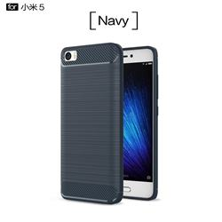 Luxury Carbon Fiber Brushed Wire Drawing Silicone TPU Back Cover for Xiaomi Mi 5 Mi5 - Navy