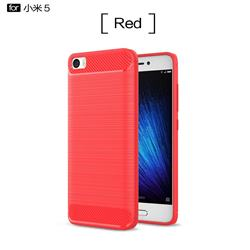 Luxury Carbon Fiber Brushed Wire Drawing Silicone TPU Back Cover for Xiaomi Mi 5 Mi5 - Red