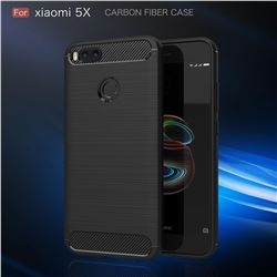 Luxury Carbon Fiber Brushed Wire Drawing Silicone TPU Back Cover for Xiaomi Mi A1 / Mi 5X - Black