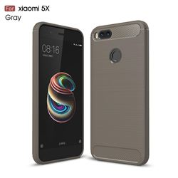 Luxury Carbon Fiber Brushed Wire Drawing Silicone TPU Back Cover for Xiaomi Mi A1 / Mi 5X - Gray