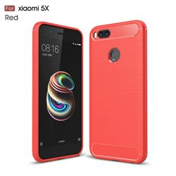 Luxury Carbon Fiber Brushed Wire Drawing Silicone TPU Back Cover for Xiaomi Mi A1 / Mi 5X - Red