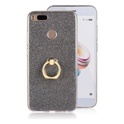 Luxury Soft TPU Glitter Back Ring Cover with 360 Rotate Finger Holder Buckle for Xiaomi Mi A1 / Mi 5X- Black