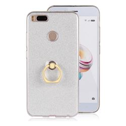Luxury Soft TPU Glitter Back Ring Cover with 360 Rotate Finger Holder Buckle for Xiaomi Mi A1 / Mi 5X- White